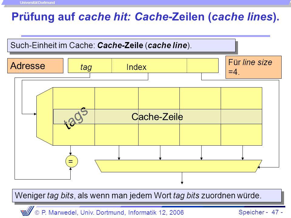 Speicher - 47 -  P. Marwedel, Univ. Dortmund, Informatik 12, 2006 Universität Dortmund Prüfung auf cache hit: Cache-Zeilen (cache lines). Such-Einhei