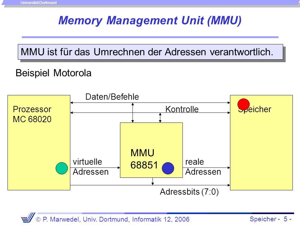 Speicher - 5 -  P. Marwedel, Univ. Dortmund, Informatik 12, 2006 Universität Dortmund Memory Management Unit (MMU) virtuelle Adressen reale Adressen