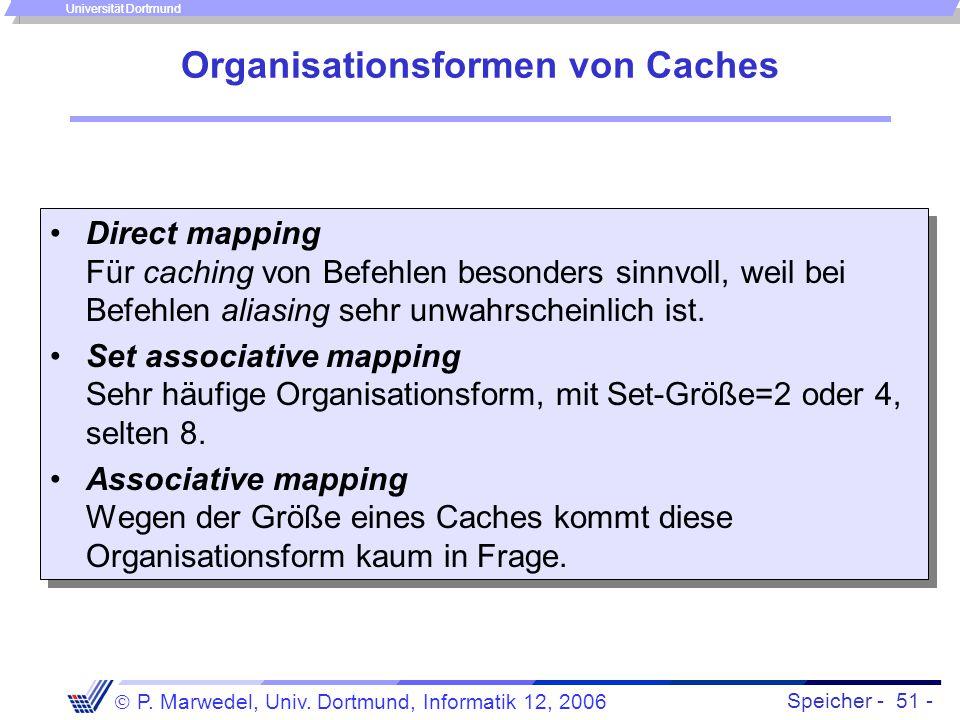 Speicher - 51 -  P. Marwedel, Univ. Dortmund, Informatik 12, 2006 Universität Dortmund Organisationsformen von Caches Direct mapping Für caching von