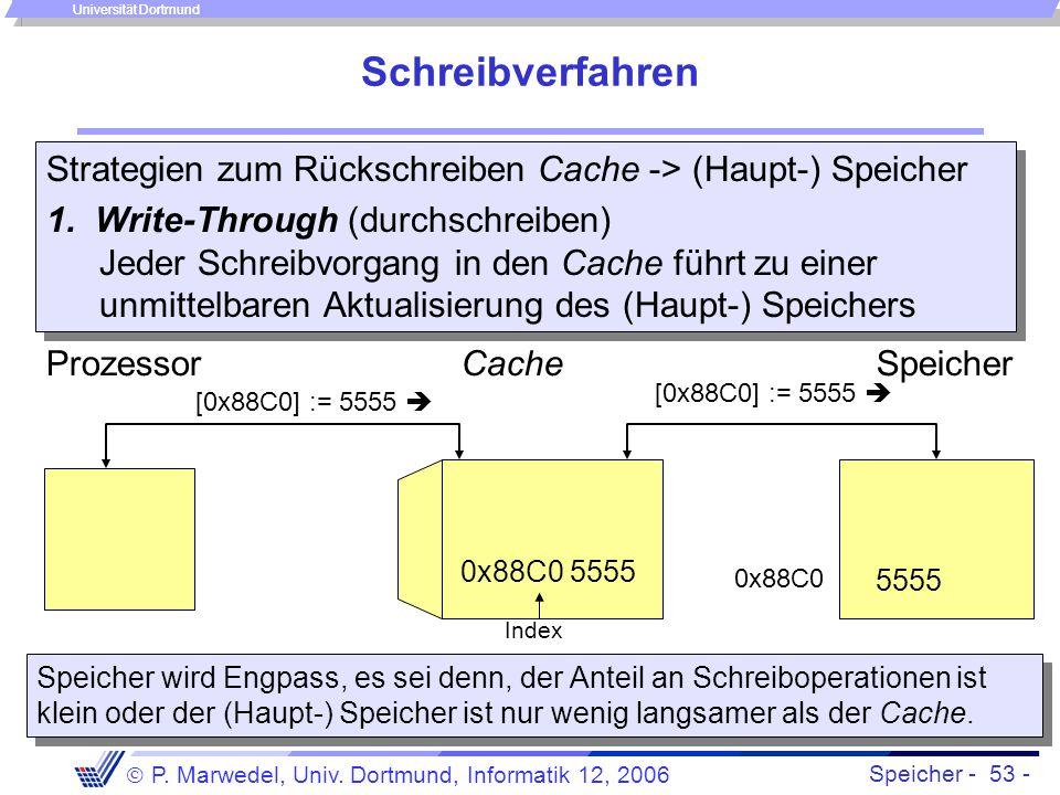 Speicher - 53 -  P. Marwedel, Univ. Dortmund, Informatik 12, 2006 Universität Dortmund Schreibverfahren Strategien zum Rückschreiben Cache -> (Haupt-