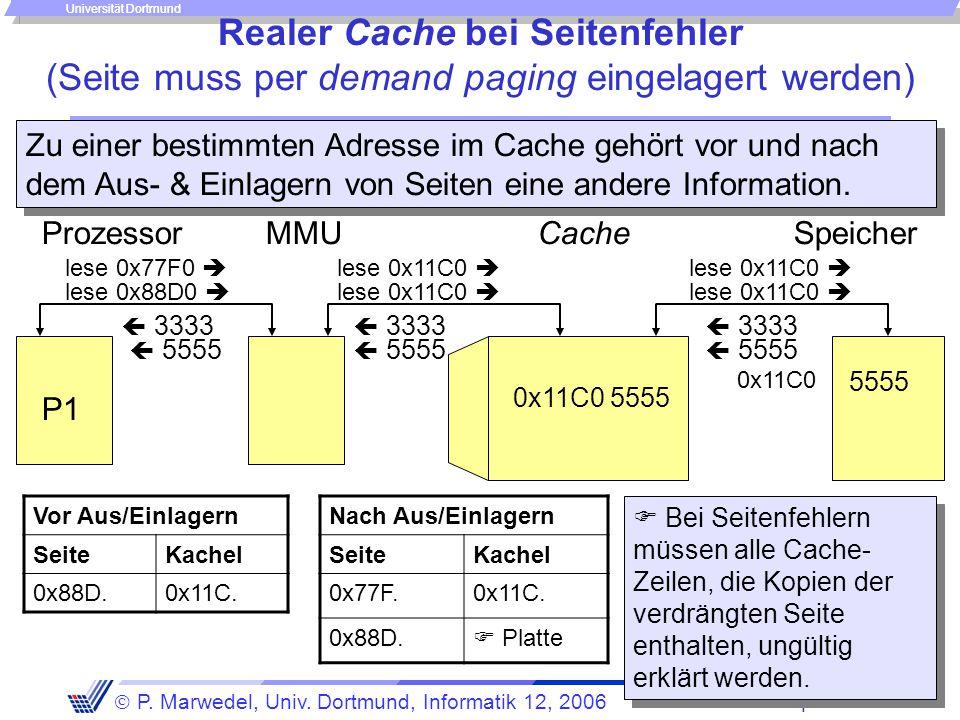Speicher - 56 -  P. Marwedel, Univ. Dortmund, Informatik 12, 2006 Universität Dortmund Realer Cache bei Seitenfehler (Seite muss per demand paging ei