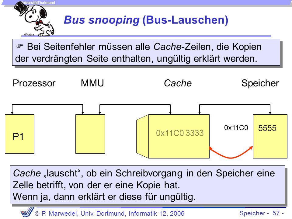 Speicher - 57 -  P. Marwedel, Univ. Dortmund, Informatik 12, 2006 Universität Dortmund Bus snooping (Bus-Lauschen) CacheProzessor 3333 0x11C0 3333 Sp