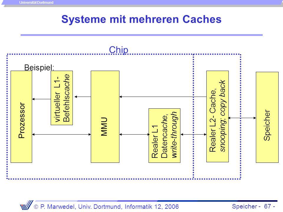 Speicher - 67 -  P. Marwedel, Univ. Dortmund, Informatik 12, 2006 Universität Dortmund Systeme mit mehreren Caches Beispiel: Prozessor Speicher MMU R