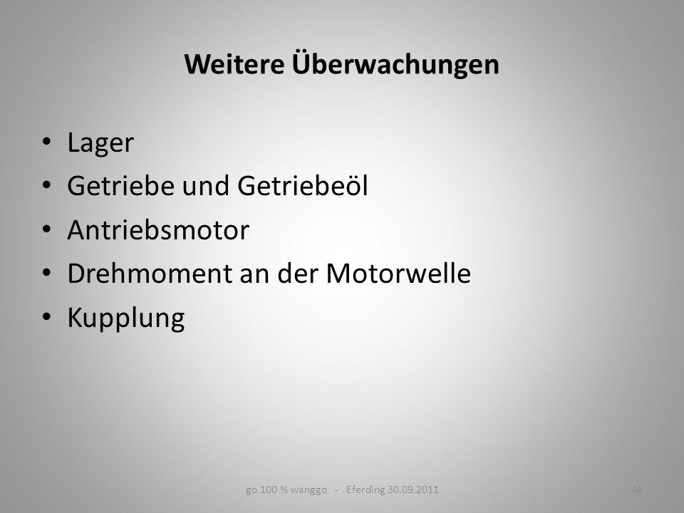 Weitere Überwachungen Lager Getriebe und Getriebeöl Antriebsmotor Drehmoment an der Motorwelle Kupplung go 100 % wanggo - Eferding 30.09.201148