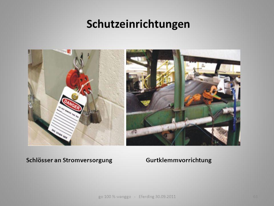 63go 100 % wanggo - Eferding 30.09.2011 Schlösser an Stromversorgung Gurtklemmvorrichtung Schutzeinrichtungen