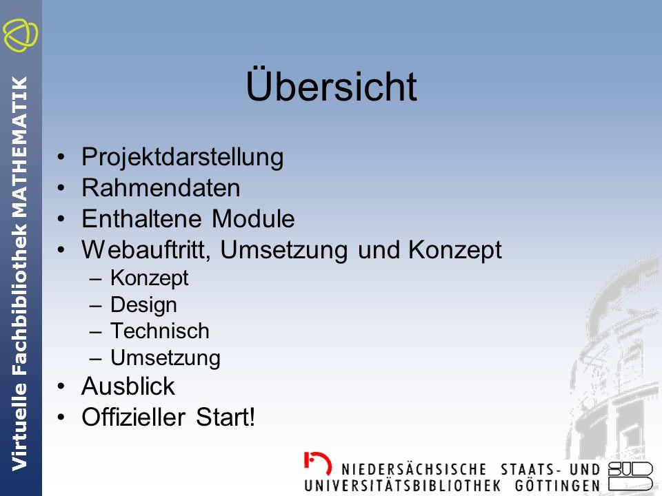 Virtuelle Fachbibliothek MATHEMATIK Übersicht Projektdarstellung Rahmendaten Enthaltene Module Webauftritt, Umsetzung und Konzept –Konzept –Design –Technisch –Umsetzung Ausblick Offizieller Start!