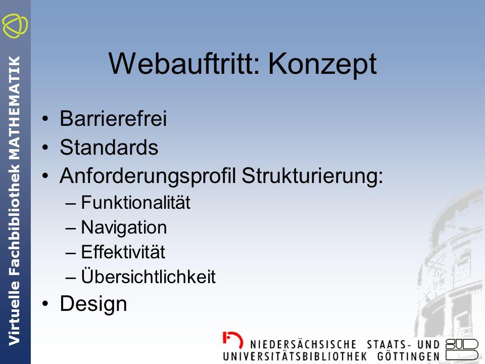 Virtuelle Fachbibliothek MATHEMATIK Webauftritt: Konzept Barrierefrei Standards Anforderungsprofil Strukturierung: –Funktionalität –Navigation –Effektivität –Übersichtlichkeit Design