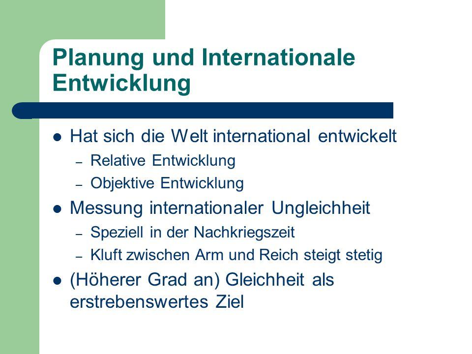 Planung und Internationale Entwicklung Hat sich die Welt international entwickelt – Relative Entwicklung – Objektive Entwicklung Messung international