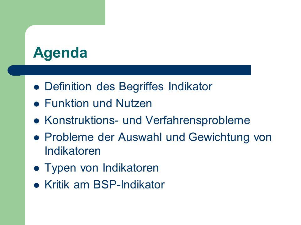 Agenda Definition des Begriffes Indikator Funktion und Nutzen Konstruktions- und Verfahrensprobleme Probleme der Auswahl und Gewichtung von Indikatore