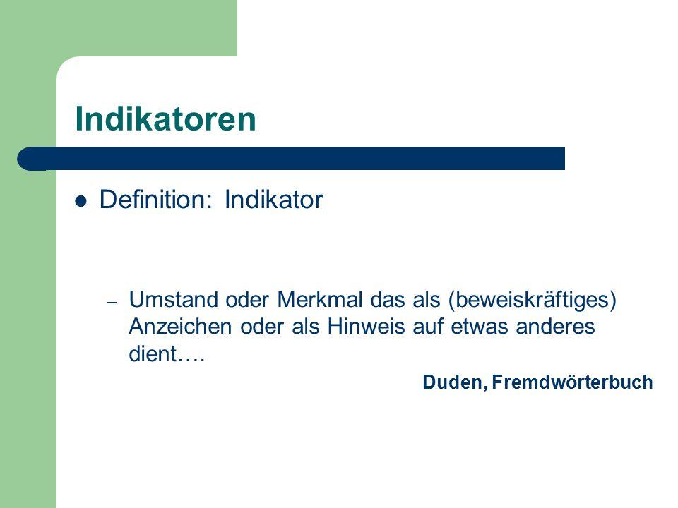 Indikatoren Definition: Indikator – Umstand oder Merkmal das als (beweiskräftiges) Anzeichen oder als Hinweis auf etwas anderes dient…. Duden, Fremdwö