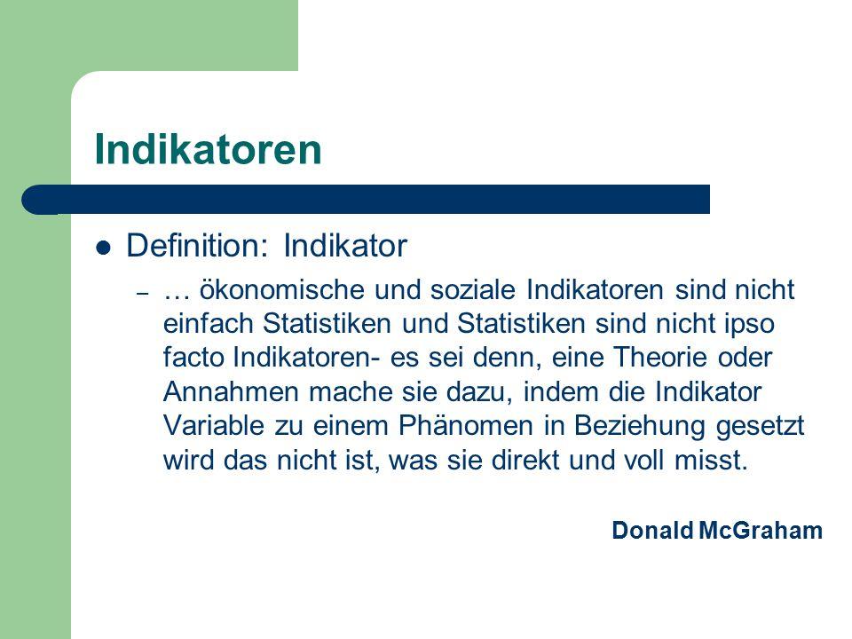 Indikatoren Definition: Indikator – … ökonomische und soziale Indikatoren sind nicht einfach Statistiken und Statistiken sind nicht ipso facto Indikat
