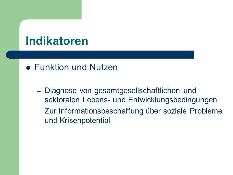 Indikatoren Funktion und Nutzen – Diagnose von gesamtgesellschaftlichen und sektoralen Lebens- und Entwicklungsbedingungen – Zur Informationsbeschaffu