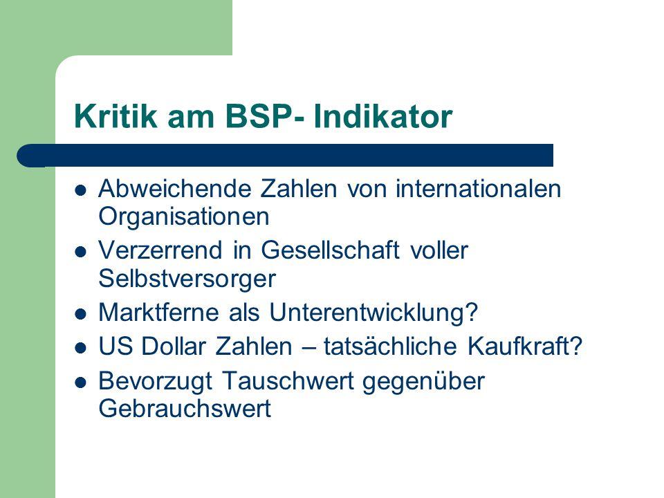 Kritik am BSP- Indikator Abweichende Zahlen von internationalen Organisationen Verzerrend in Gesellschaft voller Selbstversorger Marktferne als Untere