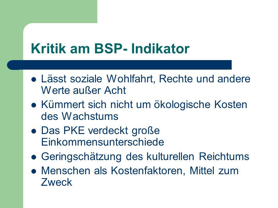 Kritik am BSP- Indikator Lässt soziale Wohlfahrt, Rechte und andere Werte außer Acht Kümmert sich nicht um ökologische Kosten des Wachstums Das PKE ve