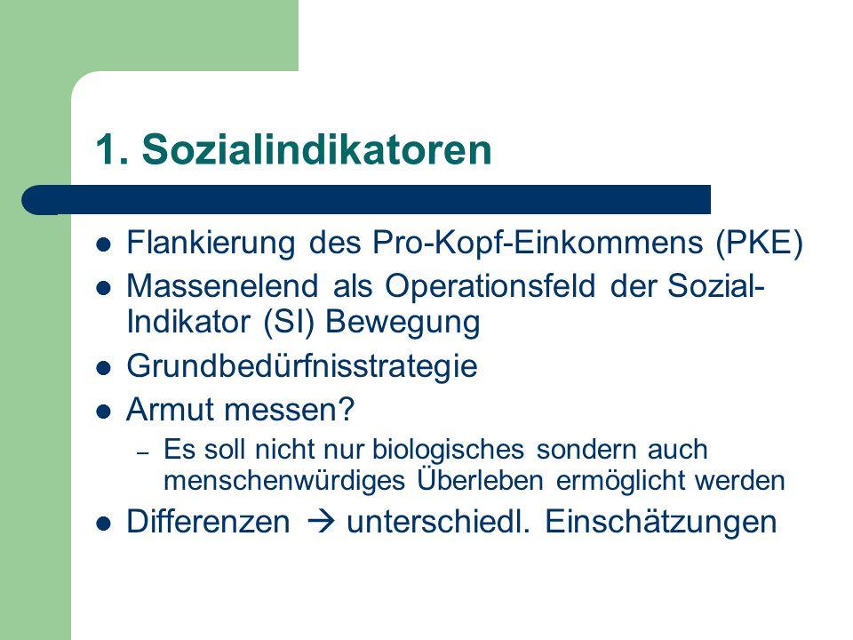 1. Sozialindikatoren Flankierung des Pro-Kopf-Einkommens (PKE) Massenelend als Operationsfeld der Sozial- Indikator (SI) Bewegung Grundbedürfnisstrate
