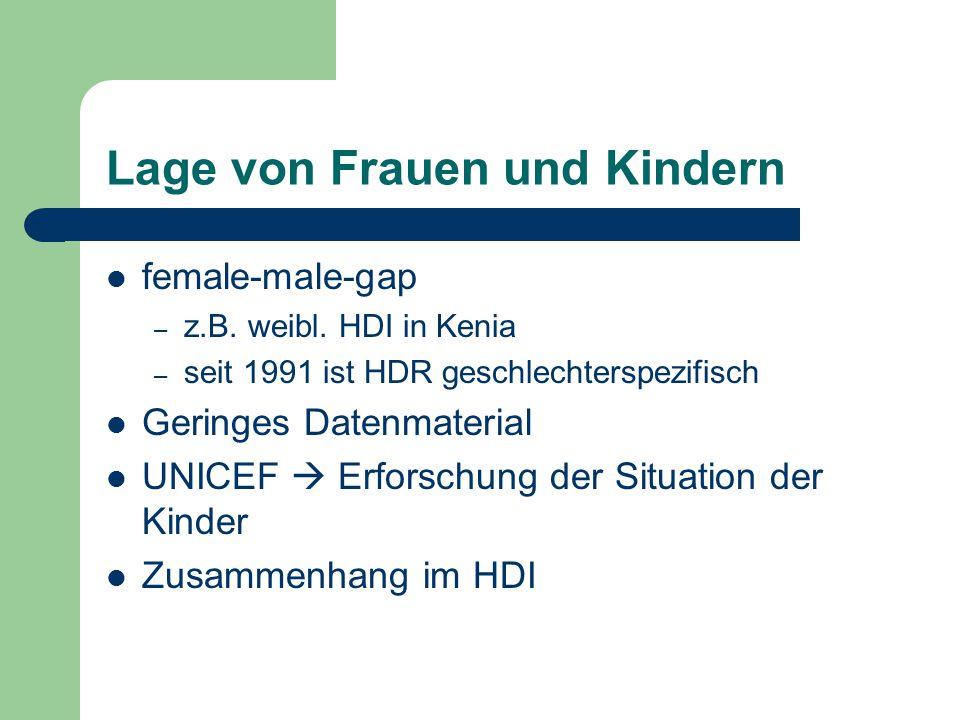 Lage von Frauen und Kindern female-male-gap – z.B. weibl. HDI in Kenia – seit 1991 ist HDR geschlechterspezifisch Geringes Datenmaterial UNICEF  Erfo
