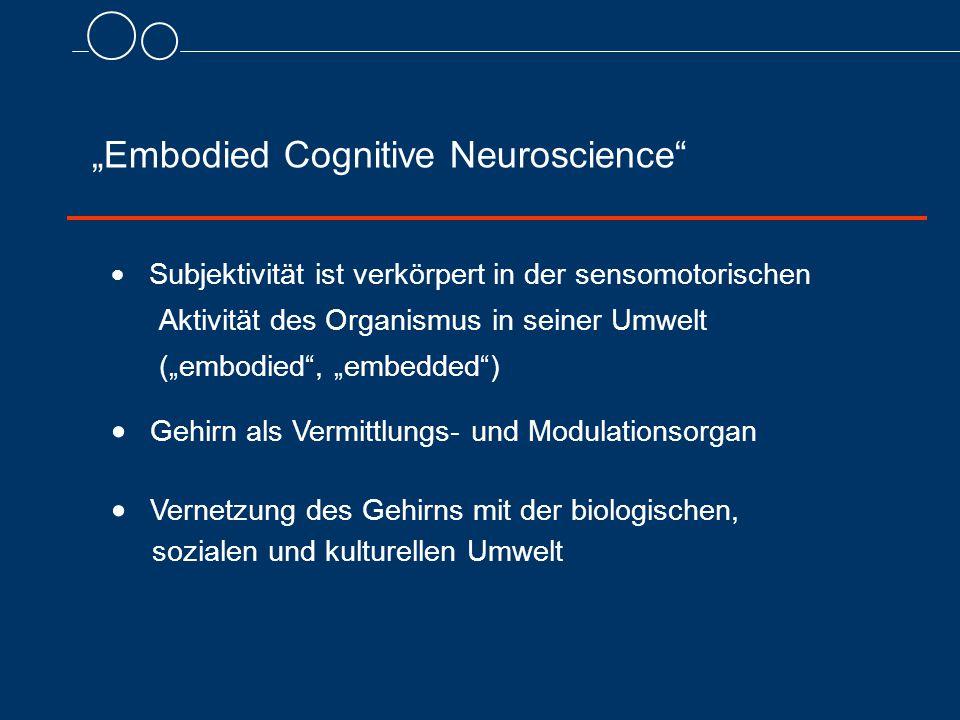 """""""Embodied Cognitive Neuroscience  Subjektivität ist verkörpert in der sensomotorischen Aktivität des Organismus in seiner Umwelt (""""embodied , """"embedded )  Gehirn als Vermittlungs- und Modulationsorgan  Vernetzung des Gehirns mit der biologischen, sozialen und kulturellen Umwelt"""