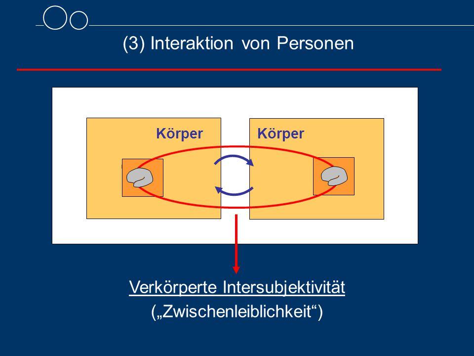 """(3) Interaktion von Personen Körper Verkörperte Intersubjektivität (""""Zwischenleiblichkeit ) Körper"""