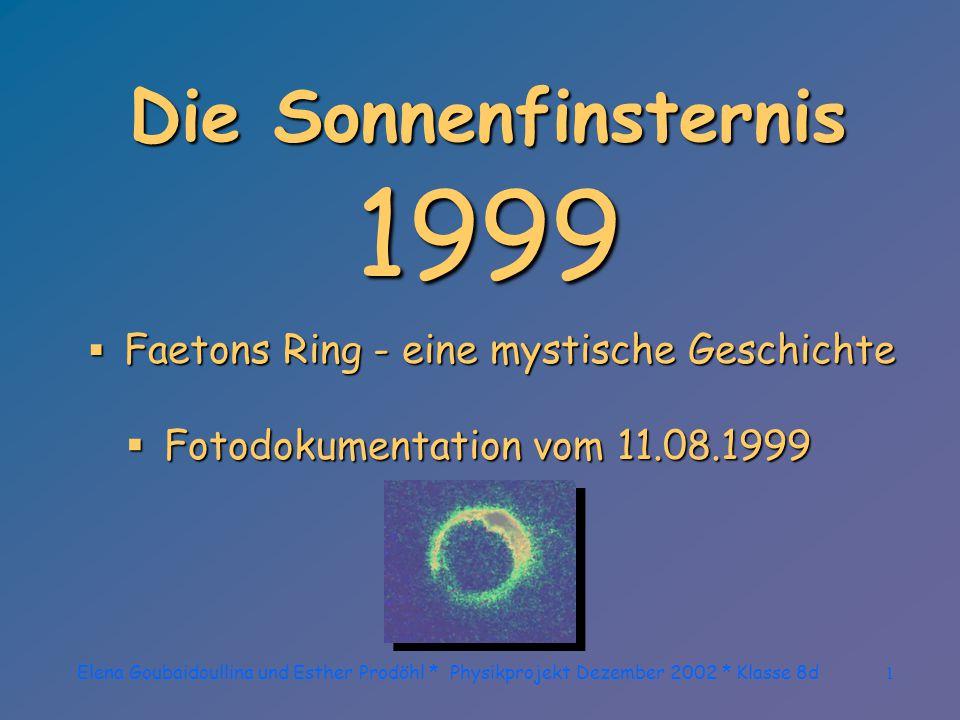 Elena Goubaidoullina und Esther Prodöhl * Physikprojekt Dezember 2002 * Klasse 8d31...Hoffen und Bangen...
