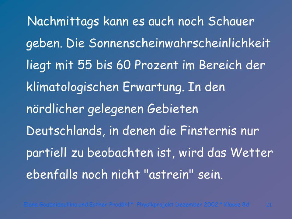 Elena Goubaidoullina und Esther Prodöhl * Physikprojekt Dezember 2002 * Klasse 8d20 Da aber gerade über Süddeutschland noch immer sehr feuchte Luft liegen bleibt, die auch bis zum Mittwoch nicht weggeräumt sein wird, muss am Mittwoch über Süddeutschland mit einem Wechsel von Wolken und Sonne gerechnet werden.