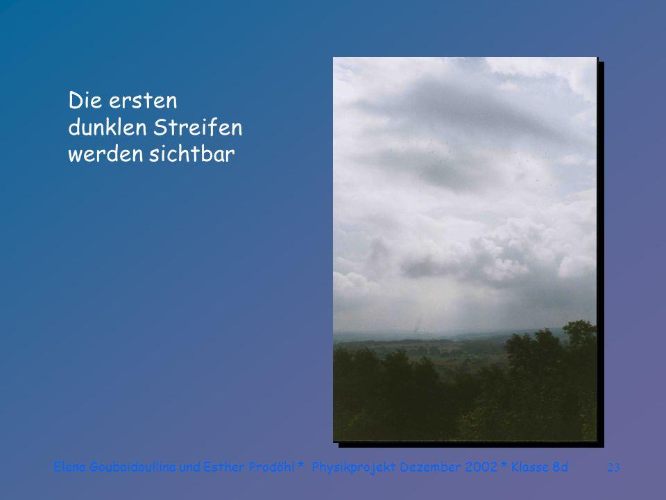 Elena Goubaidoullina und Esther Prodöhl * Physikprojekt Dezember 2002 * Klasse 8d22 Auch hier gibt es noch Wolkenfelder die eine genaue Beobachtung be
