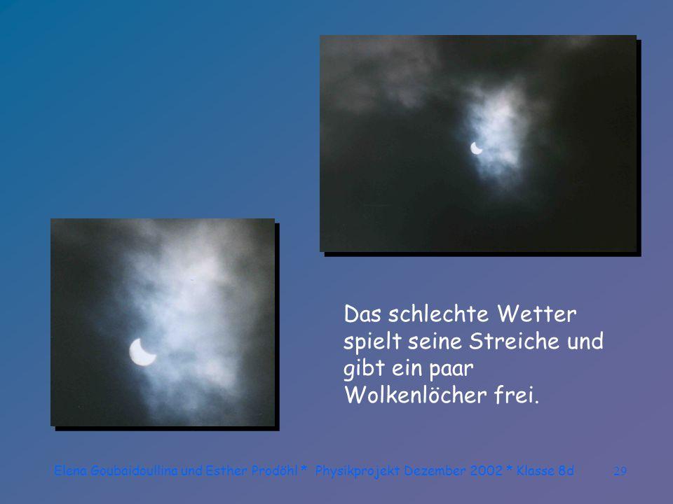 Elena Goubaidoullina und Esther Prodöhl * Physikprojekt Dezember 2002 * Klasse 8d28 Die Wolken verdunkeln sich...