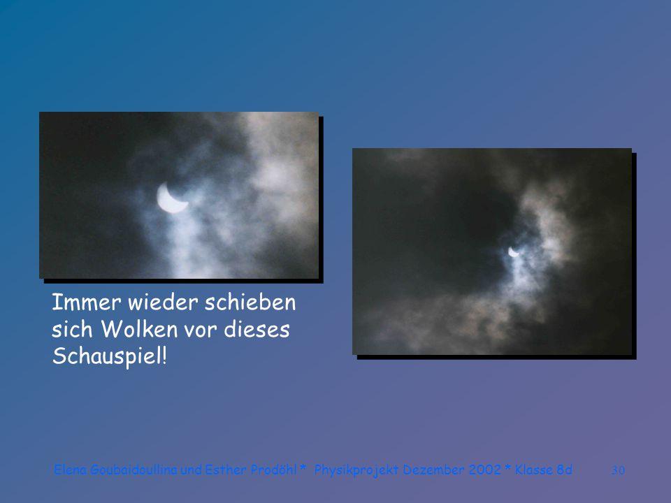 Elena Goubaidoullina und Esther Prodöhl * Physikprojekt Dezember 2002 * Klasse 8d29 Das schlechte Wetter spielt seine Streiche und gibt ein paar Wolkenlöcher frei.