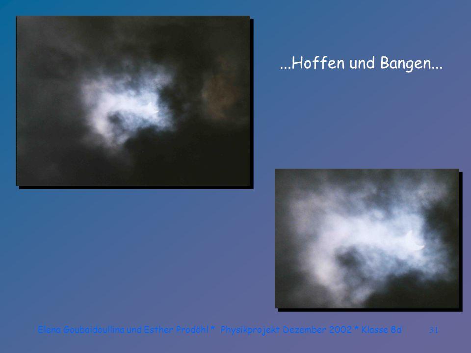 Elena Goubaidoullina und Esther Prodöhl * Physikprojekt Dezember 2002 * Klasse 8d30 Immer wieder schieben sich Wolken vor dieses Schauspiel!