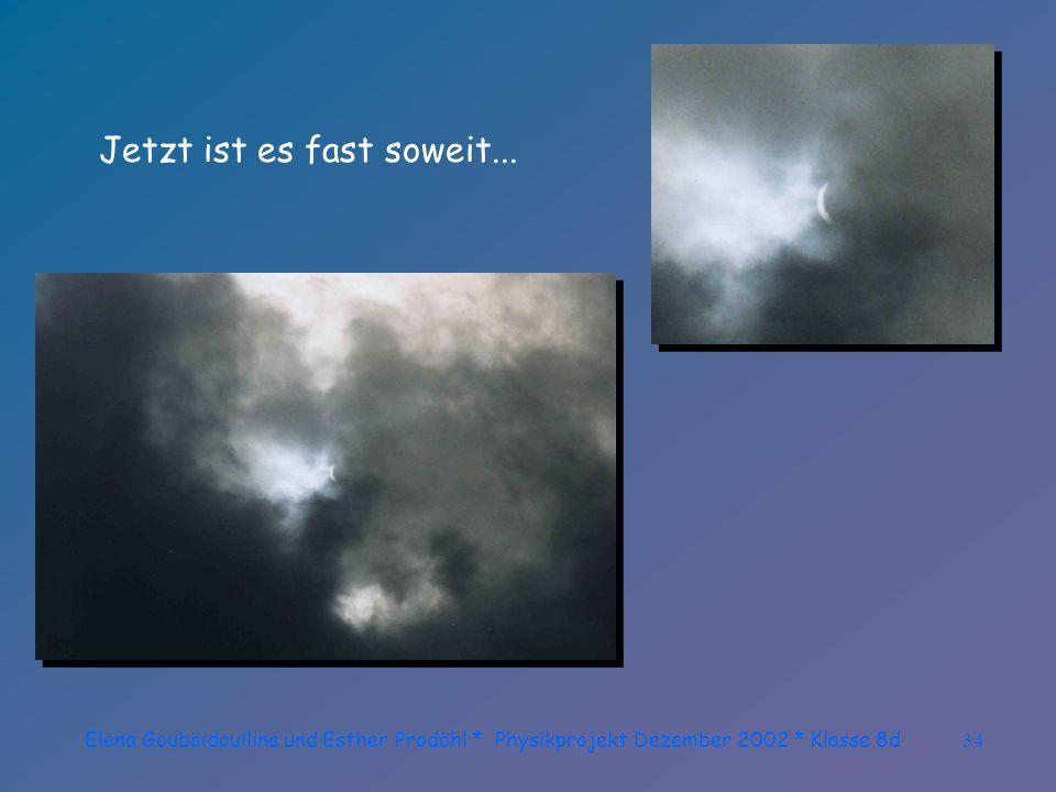 Elena Goubaidoullina und Esther Prodöhl * Physikprojekt Dezember 2002 * Klasse 8d33 Ein Wolkenloch! Nur ein klitzekleines Wolkenloch! Bitte!!