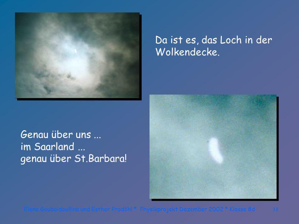 Elena Goubaidoullina und Esther Prodöhl * Physikprojekt Dezember 2002 * Klasse 8d37 Die Wolken ziehen sich wieder zu!