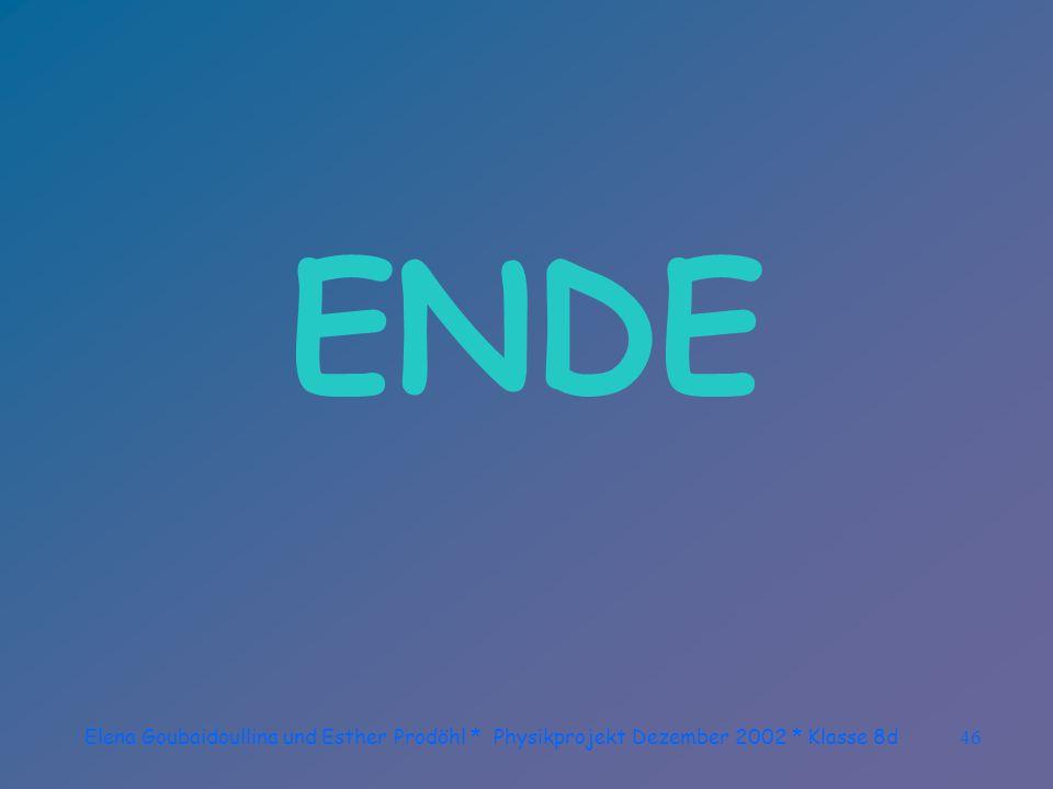Elena Goubaidoullina und Esther Prodöhl * Physikprojekt Dezember 2002 * Klasse 8d45 Fotoinfo aus dem Internet: Um den inneren Teil der Korona hervorzuheben, sollte die Belichtungszeit möglichst kurz sein.