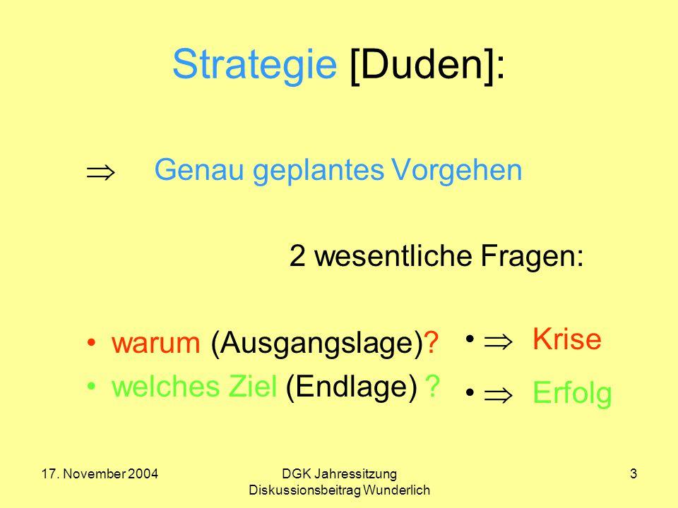 17. November 2004DGK Jahressitzung Diskussionsbeitrag Wunderlich 3 Strategie [Duden]:  Genau geplantes Vorgehen 2 wesentliche Fragen: warum (Ausgangs
