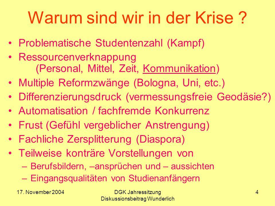 17.November 2004DGK Jahressitzung Diskussionsbeitrag Wunderlich 5 Prof.