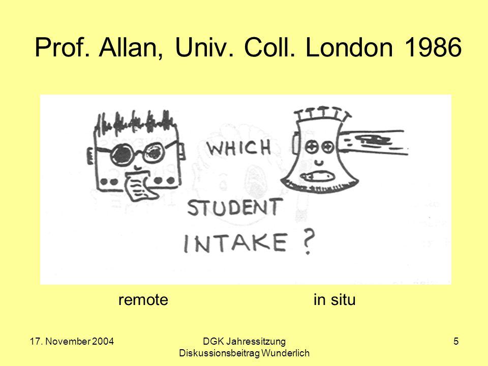 17. November 2004DGK Jahressitzung Diskussionsbeitrag Wunderlich 5 Prof. Allan, Univ. Coll. London 1986 remote in situ