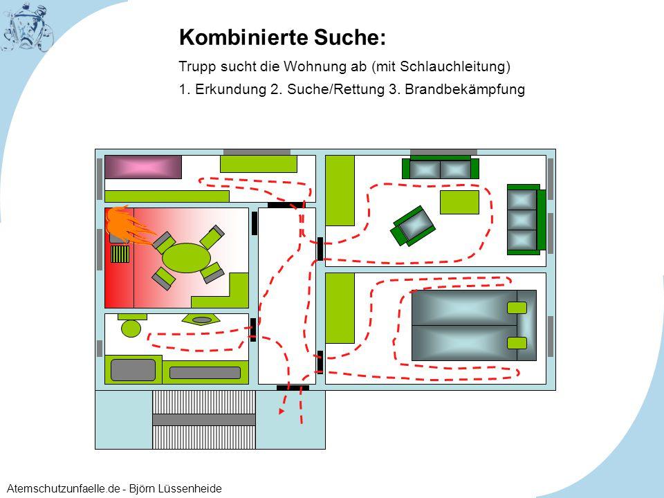 Kombinierte Suche: Trupp sucht die Wohnung ab (mit Schlauchleitung) 1. Erkundung 2. Suche/Rettung 3. Brandbekämpfung