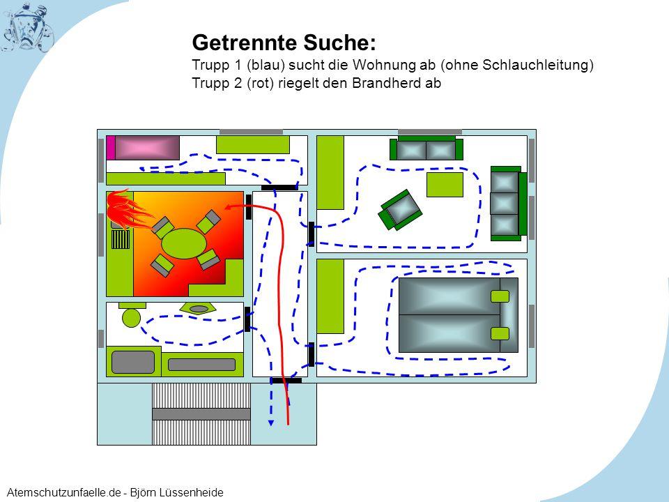 Atemschutzunfaelle.de - Björn Lüssenheide Getrennte Suche: Trupp 1 (blau) sucht die Wohnung ab (ohne Schlauchleitung) Trupp 2 (rot) riegelt den Brandh