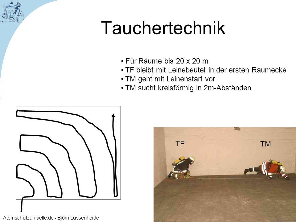 Atemschutzunfaelle.de - Björn Lüssenheide Für Räume bis 20 x 20 m TF bleibt mit Leinebeutel in der ersten Raumecke TM geht mit Leinenstart vor TM such