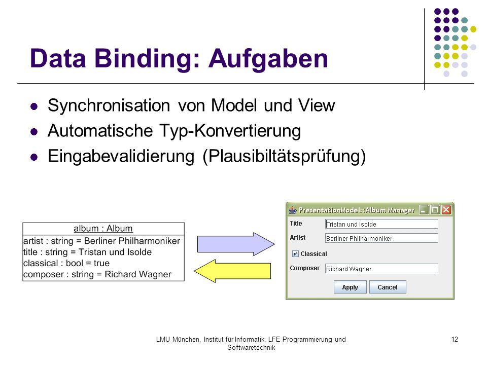 LMU München, Institut für Informatik, LFE Programmierung und Softwaretechnik 12 Data Binding: Aufgaben Synchronisation von Model und View Automatische Typ-Konvertierung Eingabevalidierung (Plausibiltätsprüfung)