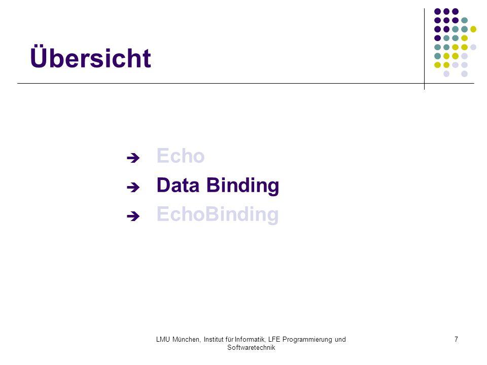 """LMU München, Institut für Informatik, LFE Programmierung und Softwaretechnik 18 EchoBinding: Beispiel OgnlBindingContext OgnlBindingContext ctx = new OgnlBindingContext(); ctx.setModel( customer ); // default model ctx.addModel( album , album ); //additional model ctx.add( customerName , new OgnlPropertyAdapter(""""name ) ); ctx.getValue( customerName ); // := ctx.getAdapter( customerName ).getValue( customer ); // := customer.getName(); ctx.getValue( #album.artist ); // Ad-Hoc-Binding // := album.getArtist();"""