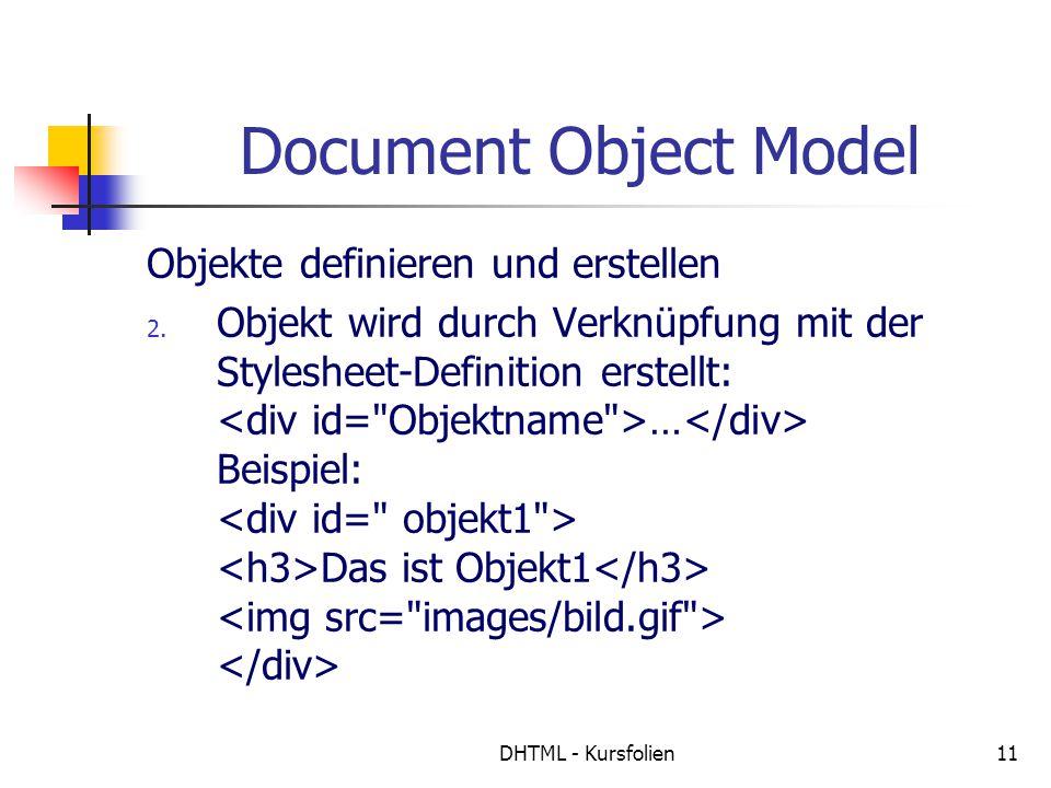 DHTML - Kursfolien11 Document Object Model Objekte definieren und erstellen 2. Objekt wird durch Verknüpfung mit der Stylesheet-Definition erstellt: …