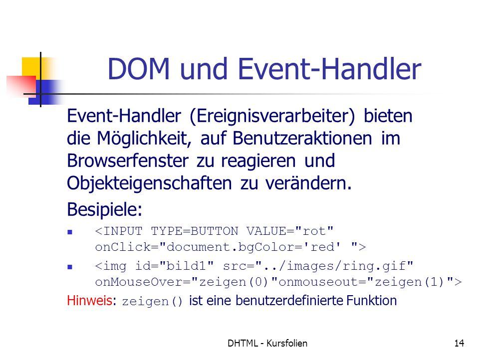 DHTML - Kursfolien14 DOM und Event-Handler Event-Handler (Ereignisverarbeiter) bieten die Möglichkeit, auf Benutzeraktionen im Browserfenster zu reagieren und Objekteigenschaften zu verändern.