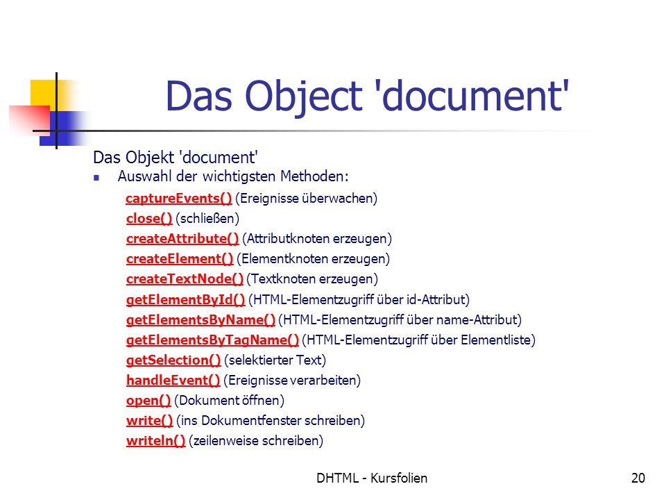 DHTML - Kursfolien20 Das Object document Das Objekt document Auswahl der wichtigsten Methoden: captureEvents() (Ereignisse überwachen) close() (schließen) createAttribute() (Attributknoten erzeugen) createElement() (Elementknoten erzeugen) createTextNode() (Textknoten erzeugen) getElementById() (HTML-Elementzugriff über id-Attribut) getElementsByName() (HTML-Elementzugriff über name-Attribut) getElementsByTagName() (HTML-Elementzugriff über Elementliste) getSelection() (selektierter Text) handleEvent() (Ereignisse verarbeiten) open() (Dokument öffnen) write() (ins Dokumentfenster schreiben) writeln() (zeilenweise schreiben) captureEvents()close()createAttribute()createElement()createTextNode()getElementById()getElementsByName()getElementsByTagName()getSelection()handleEvent()open()write()writeln()