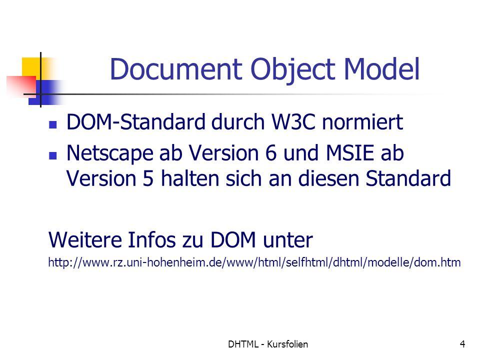 DHTML - Kursfolien4 Document Object Model DOM-Standard durch W3C normiert Netscape ab Version 6 und MSIE ab Version 5 halten sich an diesen Standard Weitere Infos zu DOM unter http://www.rz.uni-hohenheim.de/www/html/selfhtml/dhtml/modelle/dom.htm