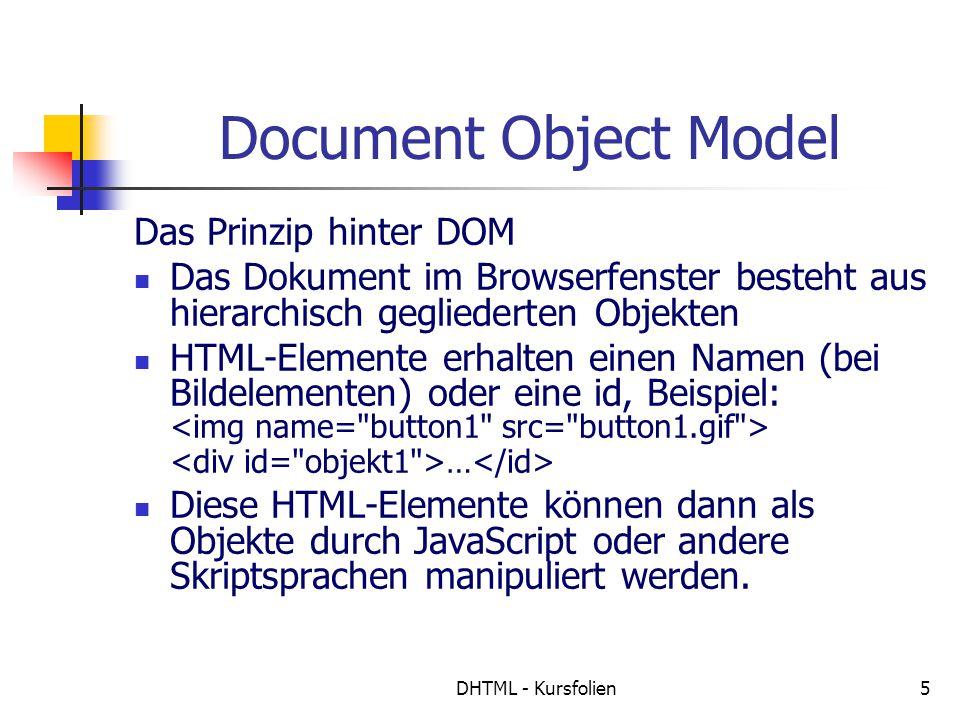 DHTML - Kursfolien5 Document Object Model Das Prinzip hinter DOM Das Dokument im Browserfenster besteht aus hierarchisch gegliederten Objekten HTML-Elemente erhalten einen Namen (bei Bildelementen) oder eine id, Beispiel: … Diese HTML-Elemente können dann als Objekte durch JavaScript oder andere Skriptsprachen manipuliert werden.