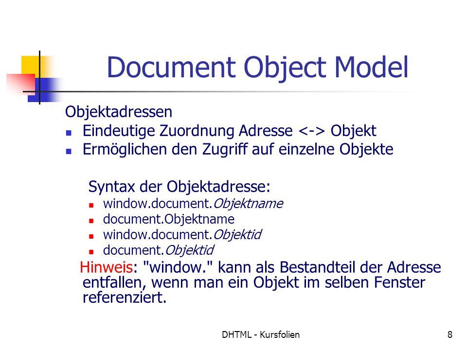 DHTML - Kursfolien8 Document Object Model Objektadressen Eindeutige Zuordnung Adresse Objekt Ermöglichen den Zugriff auf einzelne Objekte Syntax der Objektadresse: window.document.Objektname document.Objektname window.document.Objektid document.Objektid Hinweis: window. kann als Bestandteil der Adresse entfallen, wenn man ein Objekt im selben Fenster referenziert.