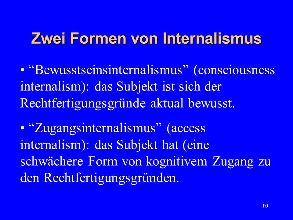 10 Zwei Formen von Internalismus Bewusstseinsinternalismus (consciousness internalism): das Subjekt ist sich der Rechtfertigungsgründe aktual bewusst.