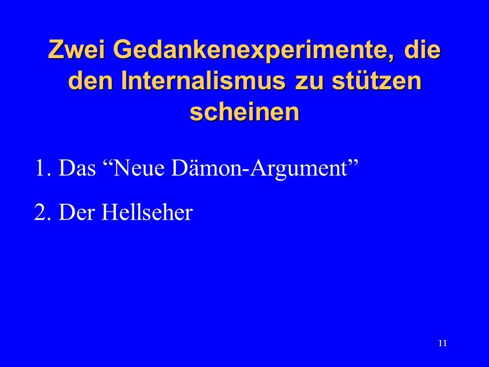 11 Zwei Gedankenexperimente, die den Internalismus zu stützen scheinen 1.Das Neue Dämon-Argument 2.Der Hellseher