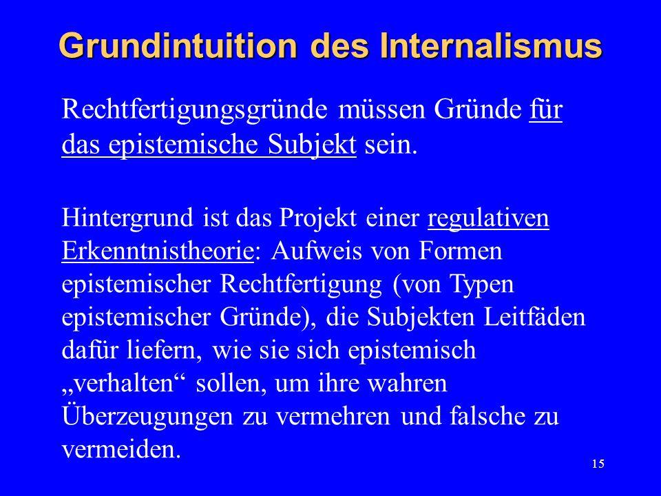 15 Grundintuition des Internalismus Rechtfertigungsgründe müssen Gründe für das epistemische Subjekt sein.