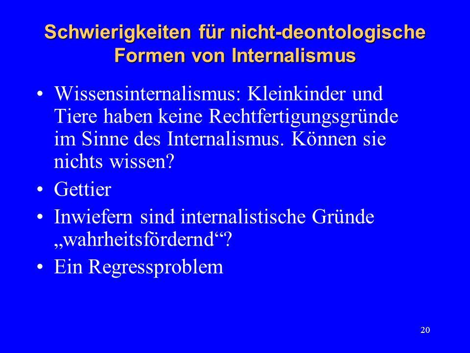 20 Schwierigkeiten für nicht-deontologische Formen von Internalismus Wissensinternalismus: Kleinkinder und Tiere haben keine Rechtfertigungsgründe im Sinne des Internalismus.