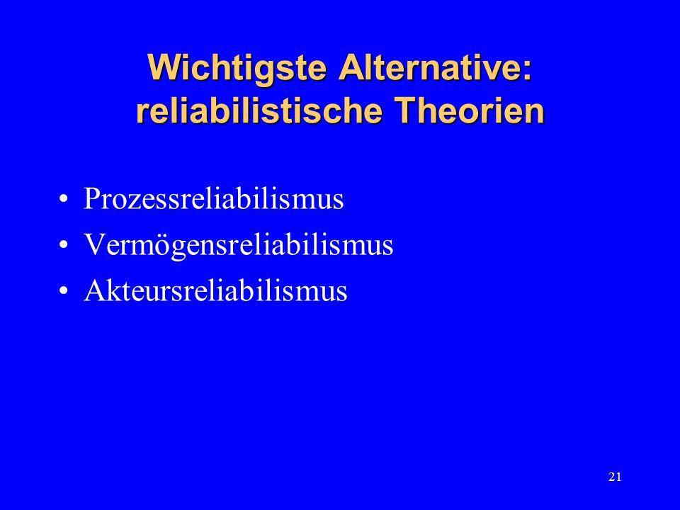 21 Wichtigste Alternative: reliabilistische Theorien Prozessreliabilismus Vermögensreliabilismus Akteursreliabilismus